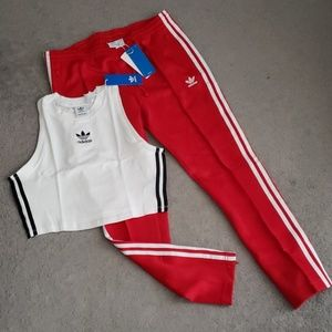 Adidas White Crop Top & Red SST Track Pants SET